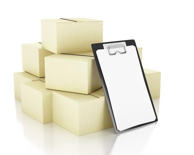3d иллюстрации. картонные коробки со списком чеков. концепция доставки. изолированный белый фон