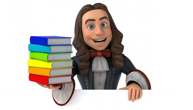 3d illustration of a cartoon man in historical baroque costume with books