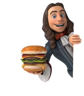 3d illustration of a cartoon man in historical baroque costume with hamburger