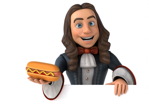 3d illustration of a cartoon man in historical baroque costume with hotdog