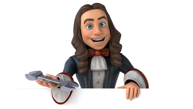 3d illustration of a cartoon man in historical baroque costume