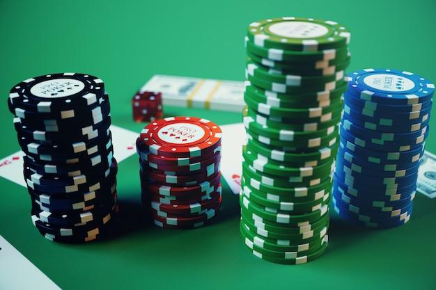 3dイラストのカジノゲーム。チップ、ポーカー用のトランプ。ポーカー用のチップ、赤いサイコロ、緑のテーブルのお金。オンラインカジノのコンセプト。