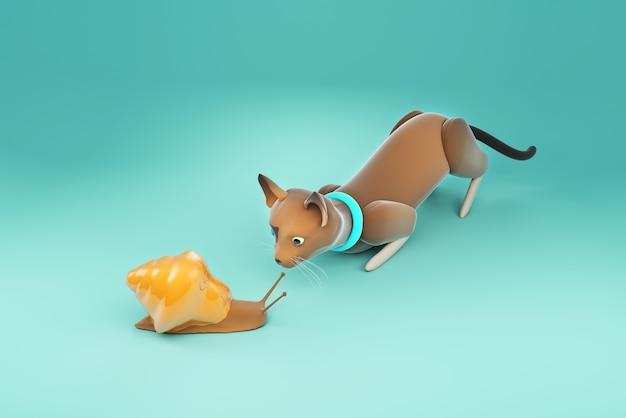 3d иллюстрации кошка смотрит улитка
