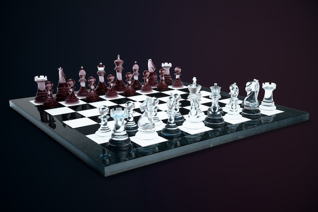 3d illustration chess game on board. concepts business ideas and strategy ideas. glass chess figures on a dark with depth of field effects.