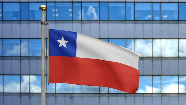 3d illustration chilean flag waving in a modern skyscraper city. beautiful tall tower with chile banner blowing smooth silk. fabric texture ensign background. national day and country concept.