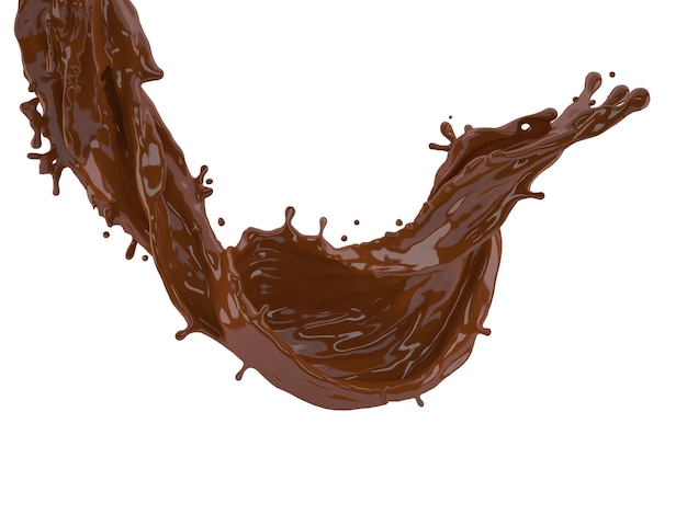 3d illustration of chocolate splash on white background with clipping path