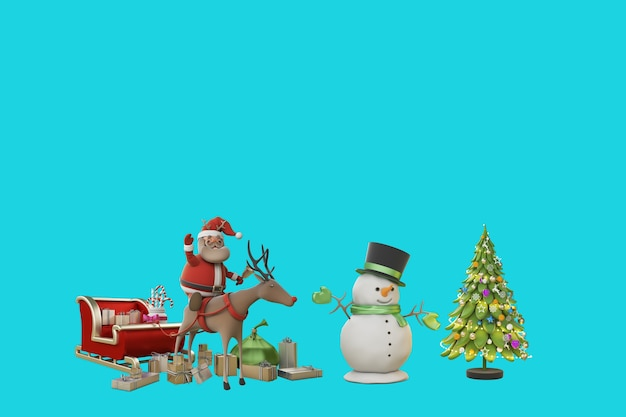 3d иллюстрация рождество с санта клаусом