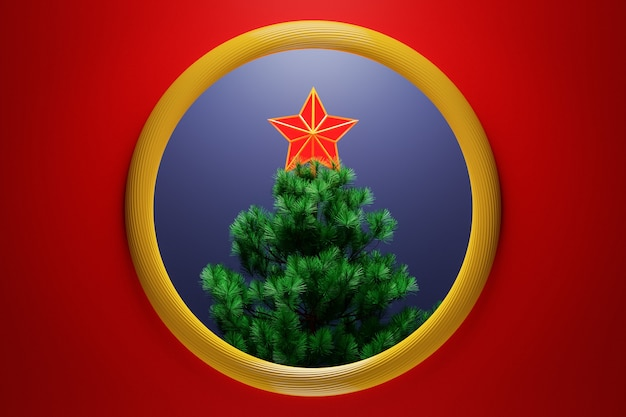 3d illustration a christmas decorative  star on the top of a christmas tree