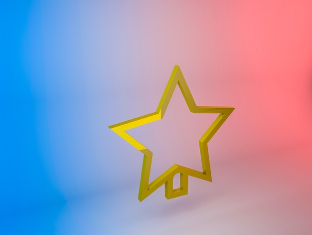 3d illustration of the christmas tree star icon on a gradient background