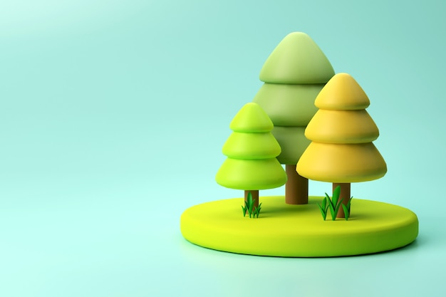 3d illustration of christmas trees on blank background