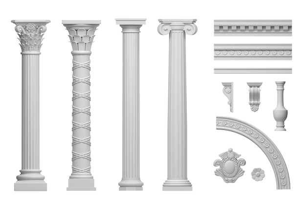 3d illustration classic antique white marble columns set isolated on white background