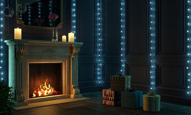 3d 그림. 밤에 클래식 벽난로. 크리스마스 또는 새해 선물. 상자 및 장식