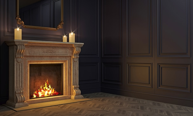 3d illustration. classic fireplace in a vintage night room. romatic background or wallpaper