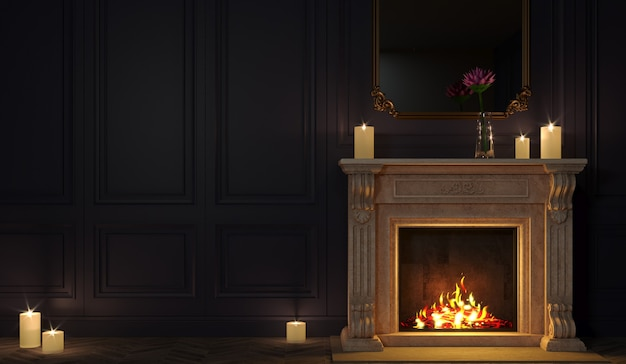 3d illustration. classic fireplace in a vintage night room.