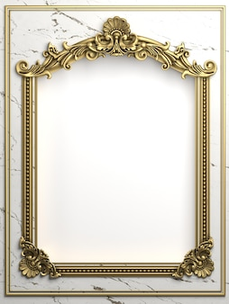 3d illustration. classic gold frame in the baroque style.  black marble.