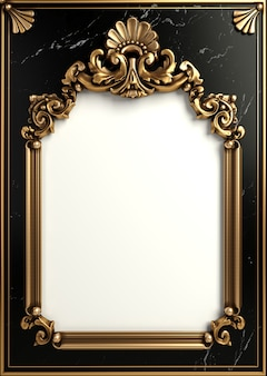 3d illustration. classic gold frame in the baroque style