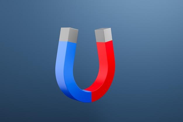 빨간색과 파란색 3d 그림 클래식 자석 검은 격리 된 배경에 공중에 날아 말굽의 형태로 끝납니다