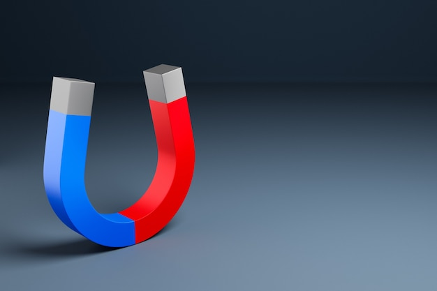 3d illustration classic magnet with red and blue ends in the form of a horseshoe r on a black isolated background