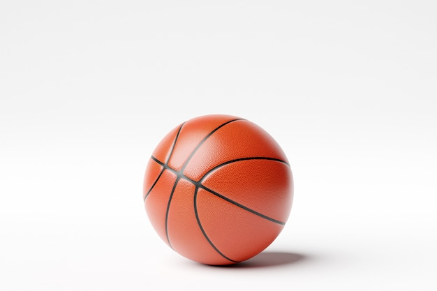 3d illustration of classic orange basketball ball with stripes on white isolated background