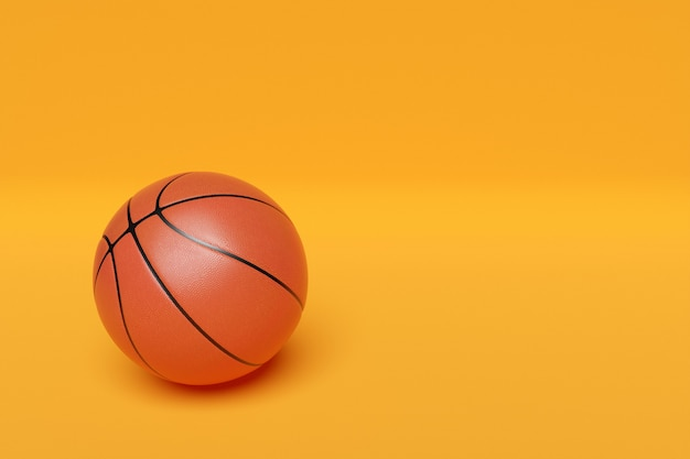 3d illustration of classic orange basketball ball with stripes on yellow isolated background
