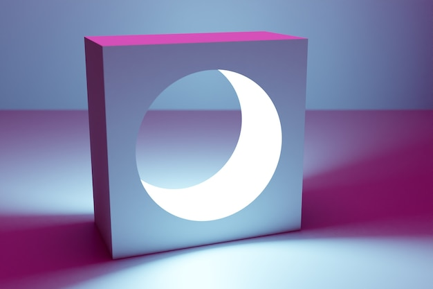 3d illustration classic still life with a geometric volumetric figure, a square with a round hole inside with a shadow under a blue-pink neon color