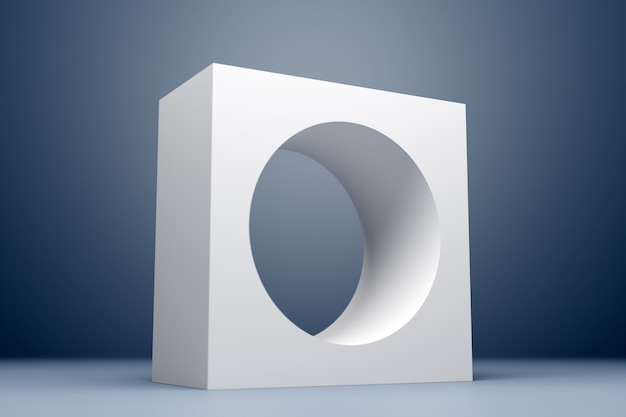 3d illustration classic still life with a geometric volumetric figure, a square with a round hole inside with a shadow