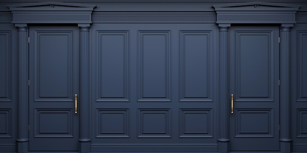 3d illustration. classic wall of dark wood panels doors. joinery in the interior. background.