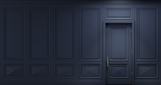 3d illustration. classic wall of dark wood panels with door. joinery in the interior. background.