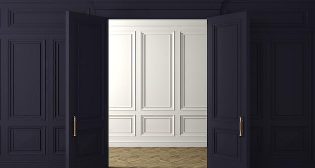 3dイラスト。ダークウッドのパネルドアのクラシックな壁。インテリアの建具。バックグラウンド。