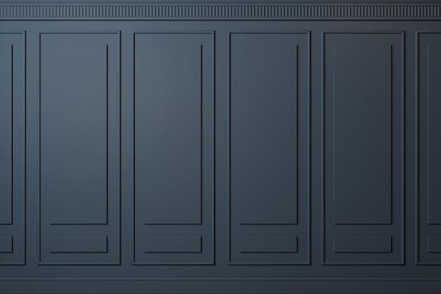 3d иллюстрации. классическая стена из темных деревянных панелей. столярные изделия в интерьере. задний план.