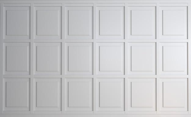 오래 된 흰색 우아한 패널 배경의 3d 일러스트 클래식 벽