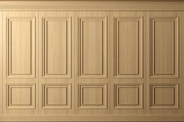 3d иллюстрации. классическая стена из винтажных деревянных панелей из бука. столярные изделия в интерьере. задний план.