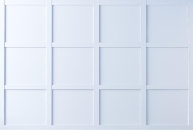3d иллюстрации. классическая стена из белых деревянных панелей. столярные изделия в интерьере. фон.