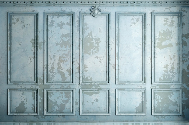3d illustration. classic wall of old stucco panels blue paint. joinery in the interior. background.