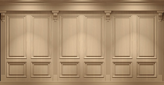 3d illustration. classic wall of vintage beech wood panels. joinery in the interior. .