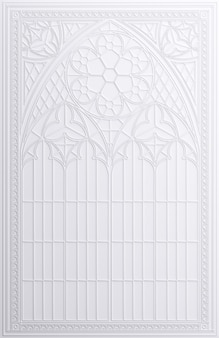 3d illustration. classic white wall frame in the gothic style.