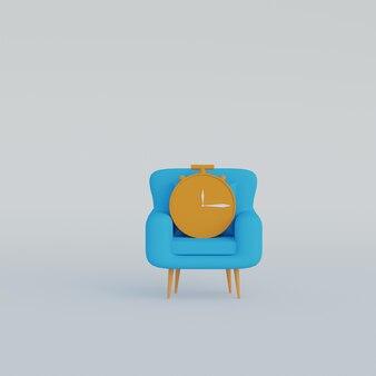 白い背景の上の肘掛け椅子の 3 d イラスト時計