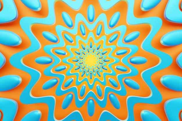 3d иллюстрации крупным планом абстрактный фон калейдоскоп. красивый оранжевый и синий калейдоскоп текстуры. уникальный калейдоскопический дизайн.