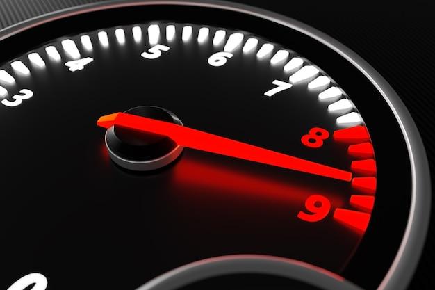 3d illustration close up black car panel, digital bright tachometer. tachometer arrow shows maximum speed