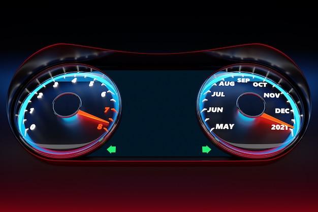 3dイラストは、カットオフ2020、2021および暦月の黒いスピードメーターをクローズアップします。自動車分野における新年とクリスマスのコンセプト。月を数えて、新年までの時間