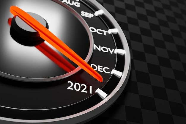 3d 그림은 컷오프 및 달력 개월과 함께 검은 속도계를 닫습니다.