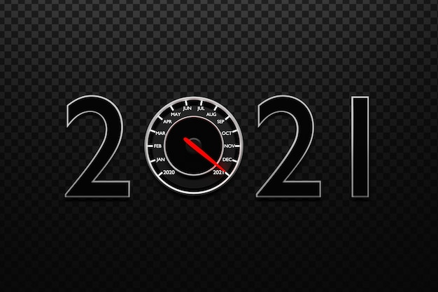 3d illustration close up black speedometer with cutoffs and calendar months