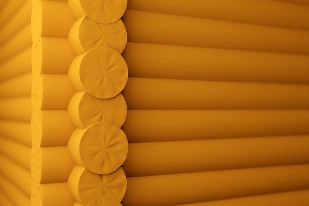 3d illustration a  close-up of a corner of an yellow wooden house with round logs
