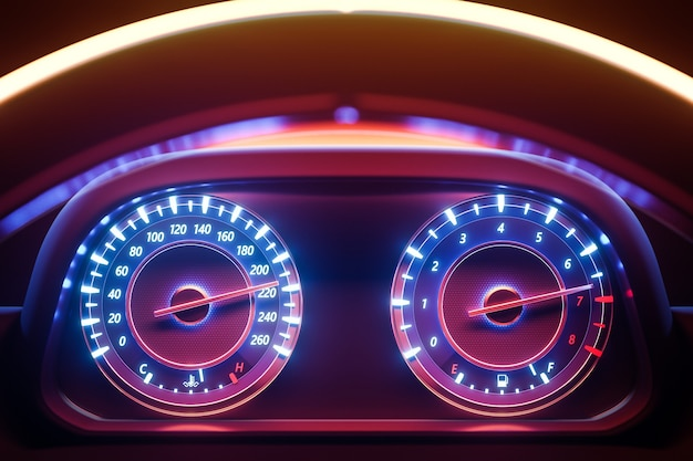 3d illustration of the close up instrument automobile panel with odometer, speedometer