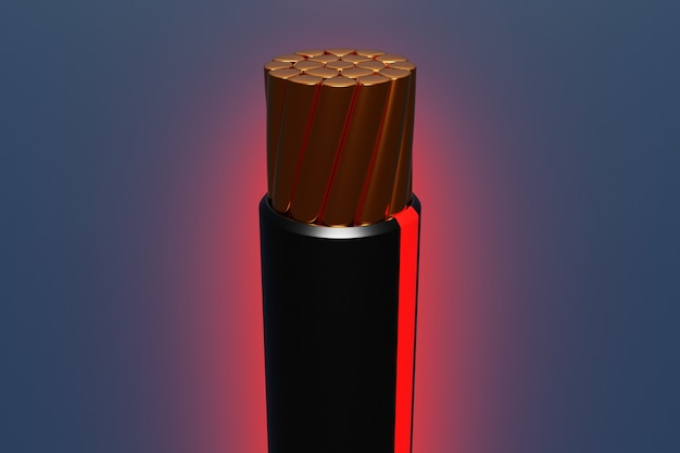 暗い背景の断面に赤く光る縞模様の銅の黒いワイヤーの3dイラストのクローズアップ