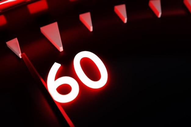 3d иллюстрации крупным планом черные круглые часы, секундомер показывает число 60. хронометр, старинный таймер
