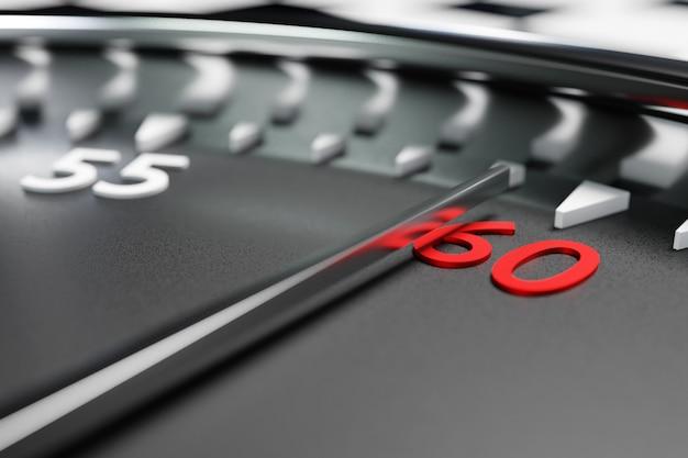 3d 그림은 검은색 원형 시계를 닫고 스톱워치는 숫자 60을 보여줍니다. 크로노미터, 빈티지 타이머