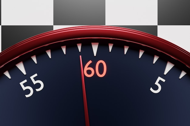 3d 그림은 검은색 원형 시계를 닫고, 스톱워치는 흑백 체크 무늬 배경에 숫자 60을 보여줍니다. 크로노미터, 빈티지 타이머