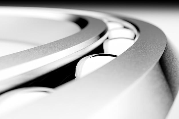3d 그림은 흰색 격리된 배경에 공이 있는 금속 볼 베어링을 닫습니다. 베어링 산업. 자동차의 일부