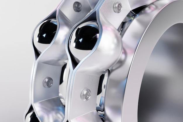 3d 그림 절연 흰색 배경에 롤러 베어링 닫습니다. 금속 자동차 기술 배경입니다. 자동차의 일부